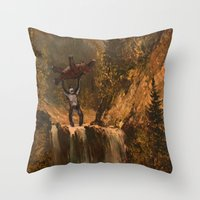 sasquatch Throw Pillows featuring The Sasquatch by TheDiGio