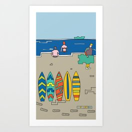 Afternoon at the beach (c) Art Print