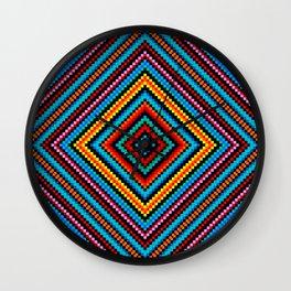 Simple Rainbow Chakra Mandala - Colorful - Romb - Folk Geometry - Black Wall Clock
