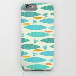 Shimmering Scandinavian Fish In Blue And Gold Pattern iPhone Case