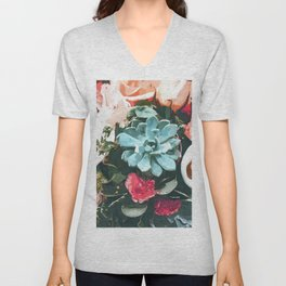 Succulent Floral Unisex V-Neck