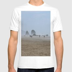 Misty Morning At Cannon Beach White MEDIUM Mens Fitted Tee