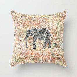 Tribal Paisley Elephant Colorful Henna Floral Pattern Throw Pillow