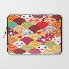Kawaii Nature background with japanese sakura flower, wave pattern Laptop Sleeve