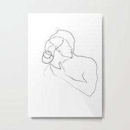 Lovers - Minimal Line Drawing 13 Metal Print