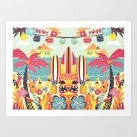 tiki Art Prints featuring Tiki by Claire Lordon