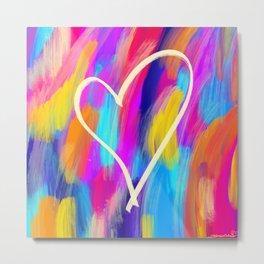 Brushed Heart Metal Print