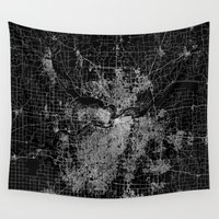 kansas Wall Tapestries featuring Kansas City map by Line Line Lines