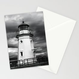 Cheboygan Light in Black and White Stationery Cards