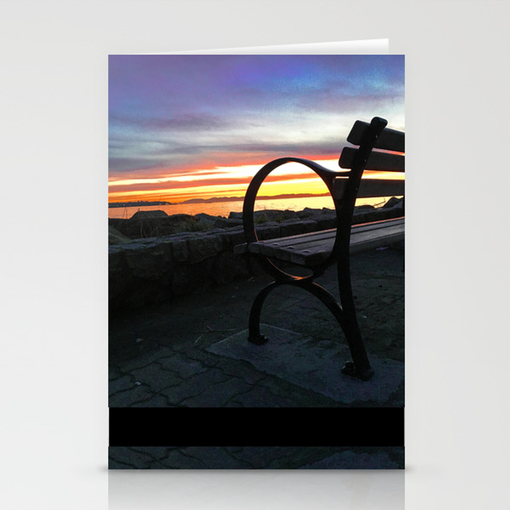 Bench At The Beach Stationery Cards by Taniaryanphoto CRD8874782