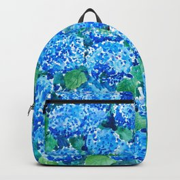 abstract blue hydrangea wall Backpack