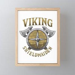 Viking Shield Maiden Norse Female Warrior Framed Mini Art Print