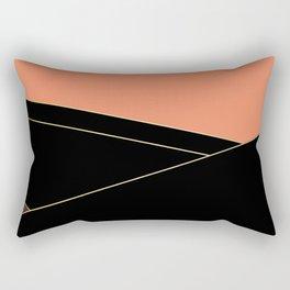 Angelica . Coral , black , brown Rectangular Pillow