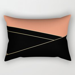 Angelica . Coral , black , brown Rectangular Pillow