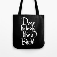 calligraphy Tote Bags featuring Pulp Calligraphy by Matthew Bartlett