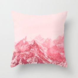 Mountains Red Throw Pillow