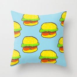 Blue water Burger Pattern Throw Pillow
