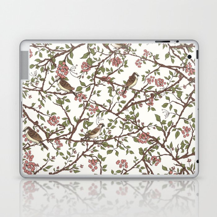 Sparrow Tree - Seamless Pattern Laptop & iPad Skin