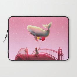 Whale and balloons - Pink Laptop Sleeve