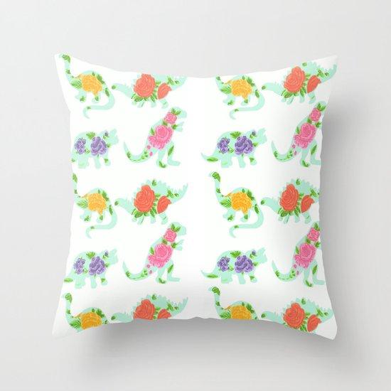 Floral print dino Throw Pillow
