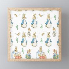 Peter Rabbit Beatrix Potter pattern design Framed Mini Art Print
