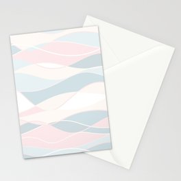 Pastel Waves // Beach Surf Light Colors Peach Blush Aqua Ocean Tides Vintage Surfing Vibes Stationery Cards