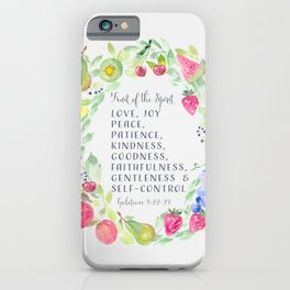 Fruit of the Spirit Watercolor Christian Art iPhone Case