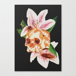 Skull and Roaches Canvas Print