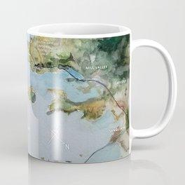 SF, San Francisco, Oakland, Bay Area, California Watercolor Map Art Coffee Mug