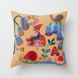 Gnome, snails and butterfies Throw Pillow