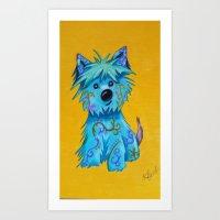 westie Art Prints featuring Westie dog by K.ForstnerArt
