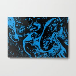 Blue & Black liquid ink Metal Print
