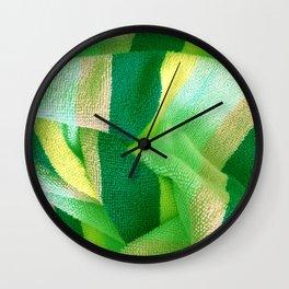 Green Stripe Textile Wall Clock