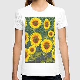MODERN OPTICAL ART SUNFLOWER FIELD T-shirt
