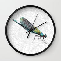 dragonfly Wall Clocks featuring Dragonfly by Matt McVeigh