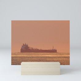 Ship under Copper Sunset Lightning Mini Art Print