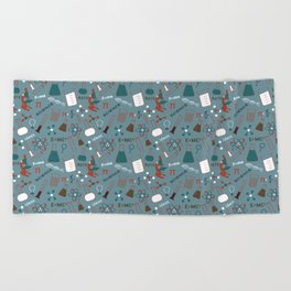 Blue Science and Math Icons Beach Towel