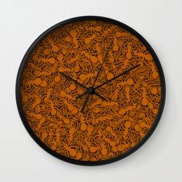 Orange ants Wall Clock