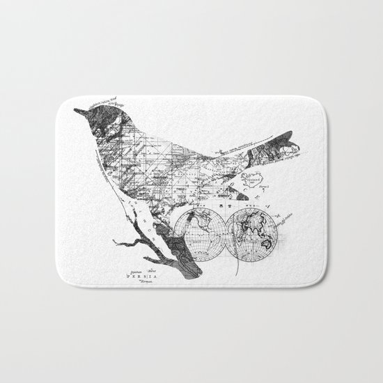 Bird Wanderlust Black and White Bath Mat