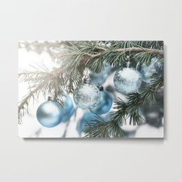Blue Christmas baubles on tree Metal Print