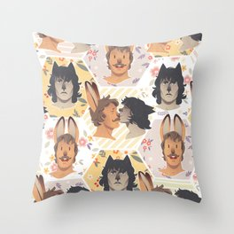 BunElias and Little Wolf Throw Pillow