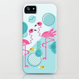 1980's Memphis Style Pink Flamingos iPhone Case