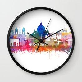 Rome Skyline Watercolor by Zouzounio Art Wall Clock