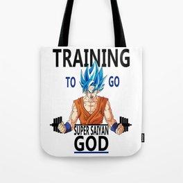 Training to go Super Saiyan God Tote Bag