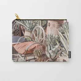 Tropical Rooftop In Marrakech Photo   Cactus Plants Boho Art Print   Morocco Travel Photography Carry-All Pouch