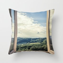 Panoramic view of the rolling hills of Chianti through a window in early morning Throw Pillow