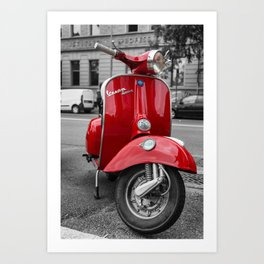Red Vespa Sprint In Bologna Black and White Photography Art Print