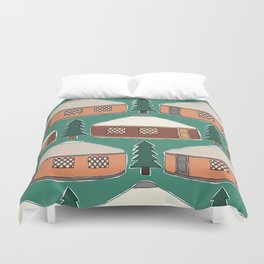 Cozy Yurts -n- Pines Duvet Cover