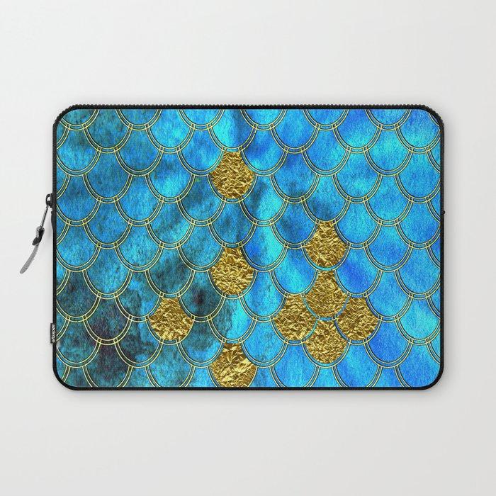 Blue Aqua Turquoise And Gold Glitter Mermaid Scales -Beautiful Mermaidscales Pattern Laptop Sleeve