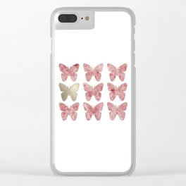 Golden rosy mauve butterflies Clear iPhone Case